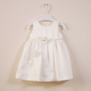 Girls-Baby-Toddler-Simple-Ivory-Flowergirl-Party-Satin-Dress-Sz-3M-4-Floral