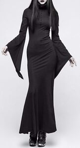 Image Is Loading Punk Rave Black Victorian Witch Maxi Dress High