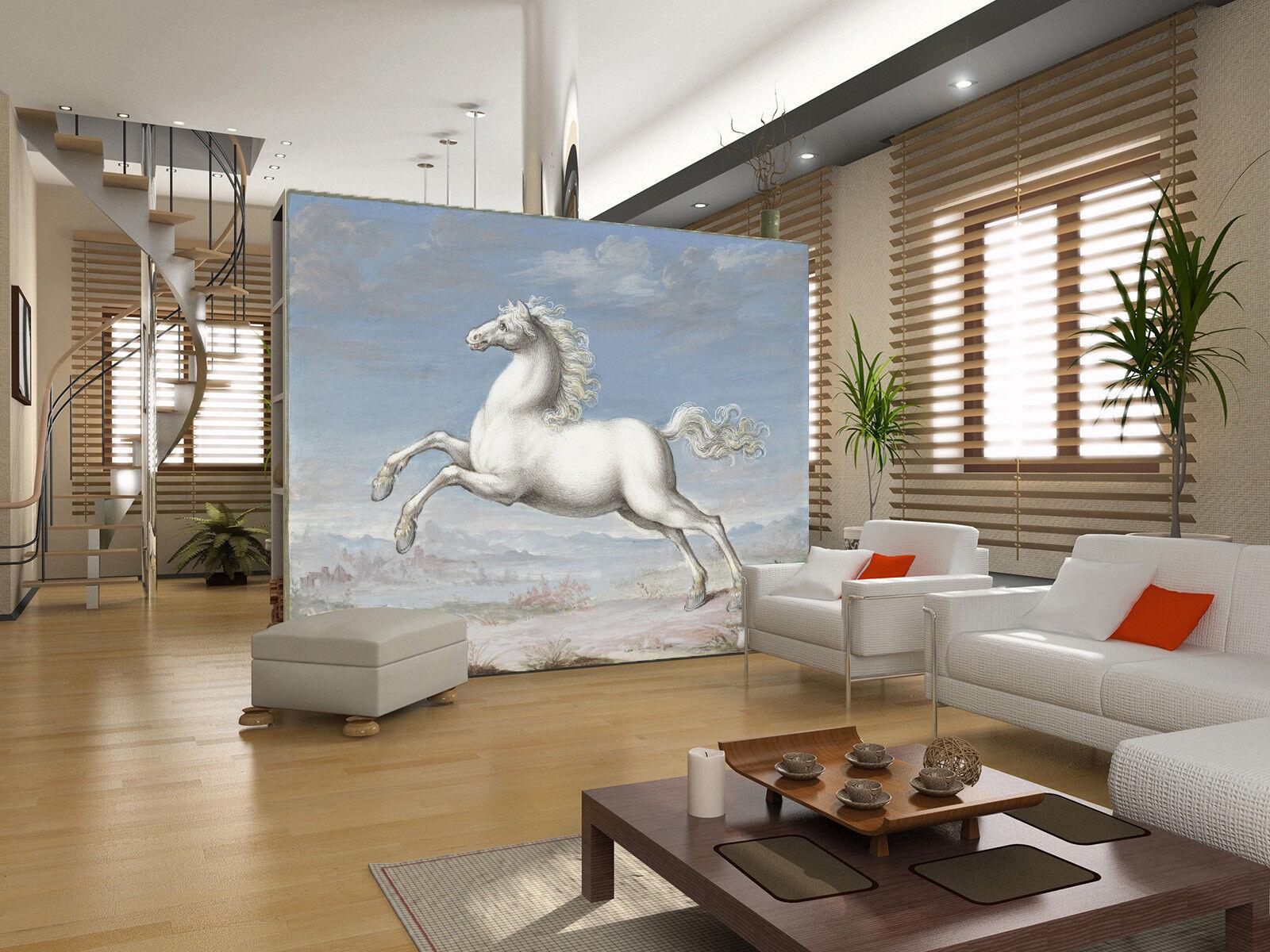 3D Cliff Weiß Horse 8 Wall Paper Murals Wall Print Wall Wallpaper Mural AU Kyra