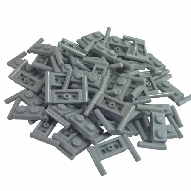 Lego 5 New Dark Bluish Gray Plates Modified 1 x 2 with Handle on Sides