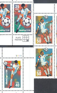 US-Stamp-L188-Scott-2834-2836-Mint-NH-OG-Nice-Plate-Block-Soccer-World-Cup