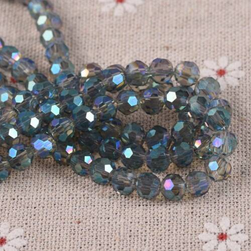 100PCS Glass Round Crackle Crystal Loose Beads Spacer DIY Jewelry Making 6MM