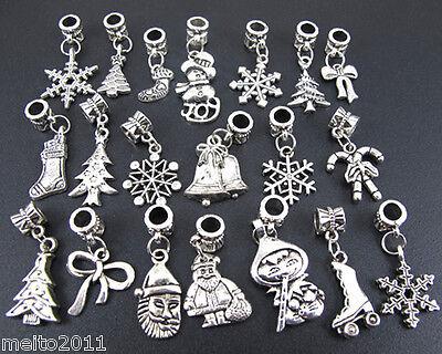 20X Wholesale Lots Mix Tibetan Silver Xmas Snowman Beads Fit European Bracelet