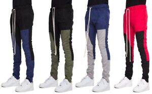 14e0f24d Details about New EPTM. Men's Ankle Zipper Slim Suede Color Block Techno  Track Pants Joggers