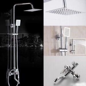 "Chrome 8/"" LED Shower Faucet Set Wall Mounted Rainfall Head Hand Shower Mixer Tap"