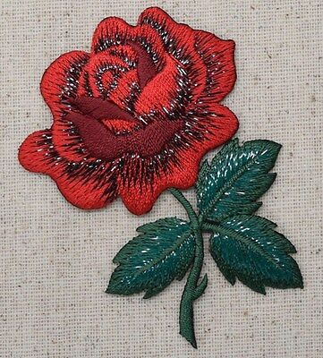 "Large 3-1/8"" Single Red Rose Green Leaves (Iron On Embroidered/Applique Patch)"