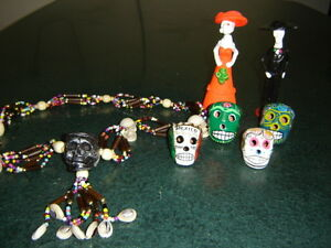 1-SKULLS-CATRINES-7-pieces-clay-skeleton-necklace-calaveras-craneos