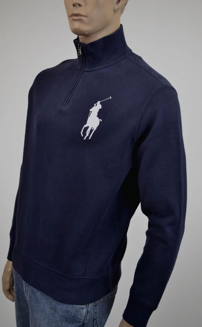 Ralph Lauren French Ribbed Navy bluee Half-Zip Sweater Big White Pony- NWT-
