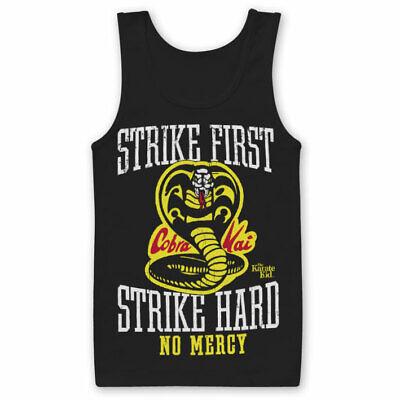 Karate Kid Cobra Kai Strike First No Mercy Official Classic Mens Black Vest