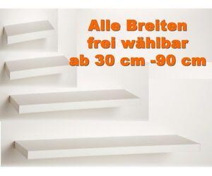 Das Bild Wird Geladen Wandboard Wandregal Haengeregal Sonderme Weiss Breiten Waehlbar 30
