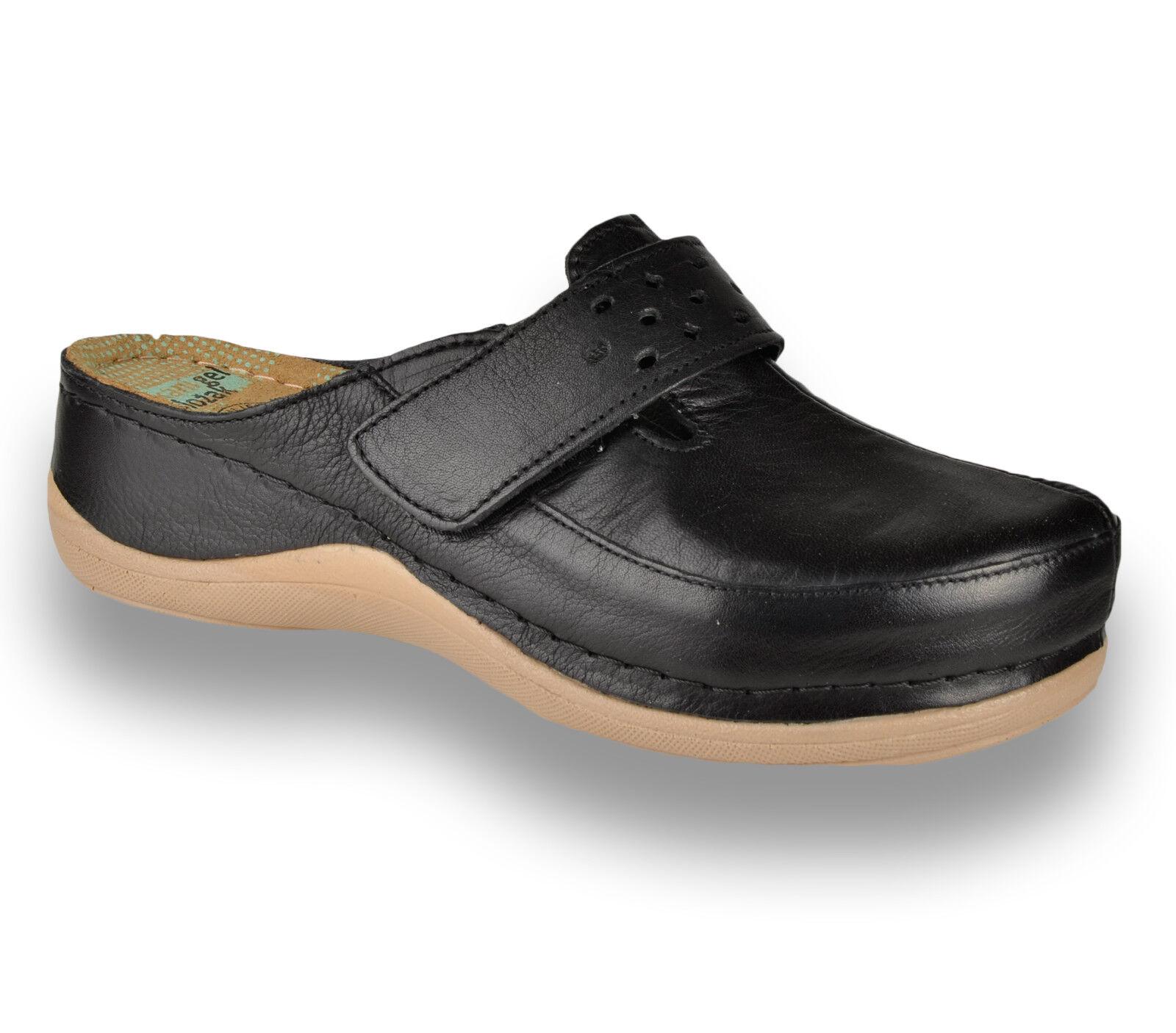 Leon 902 Damas Mujeres Zuecos Cuero Slip On Mulas Zapatillas Sandalias, Negro nuevo Reino Unido