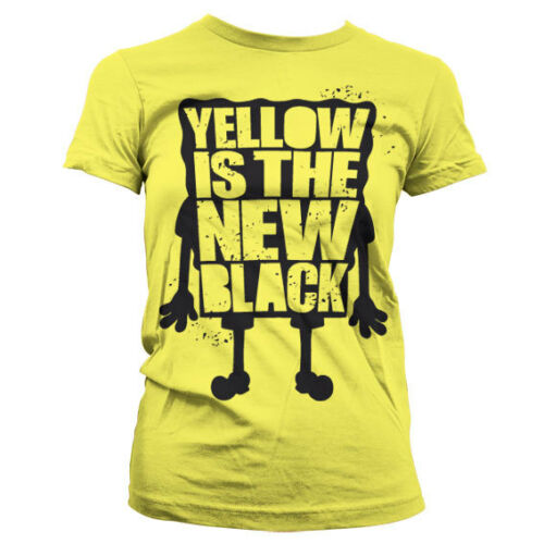 Officially Licensed Sponge Bob Yellow Is The New Black Women T-Shirt S-XXL Size