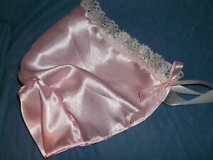 ADULT-BABY-SISSY-PINK-SATIN-BONNET-LACE-TRIMMED-WHITE-SATIN-TIES