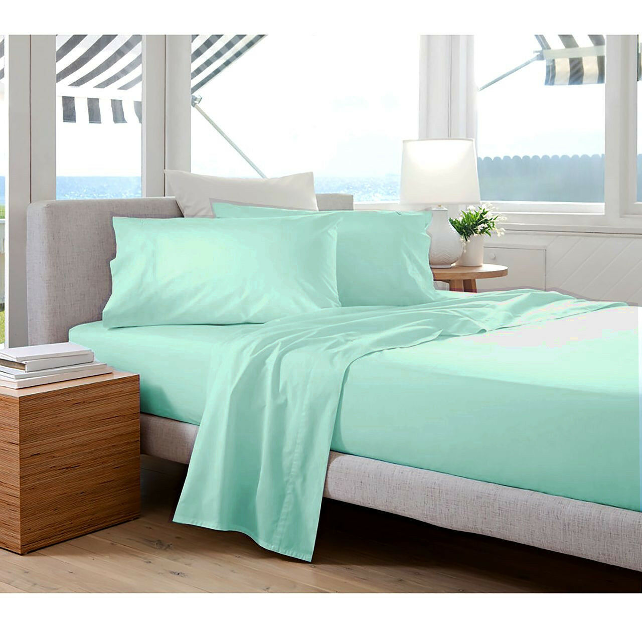 400 TC Egyptian Cotton ROUND BED SHEET SET Percale Ice blueeeee