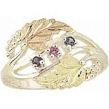 12k Leaves Black Hills Gold and Sterling Silver 3 Genuine Stones Mothers Ring