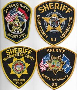 SET Nr.14:  4 Stück USA Police Patch SHERIFF SC PA NJ MO Polizei Abzeichen 12 cm