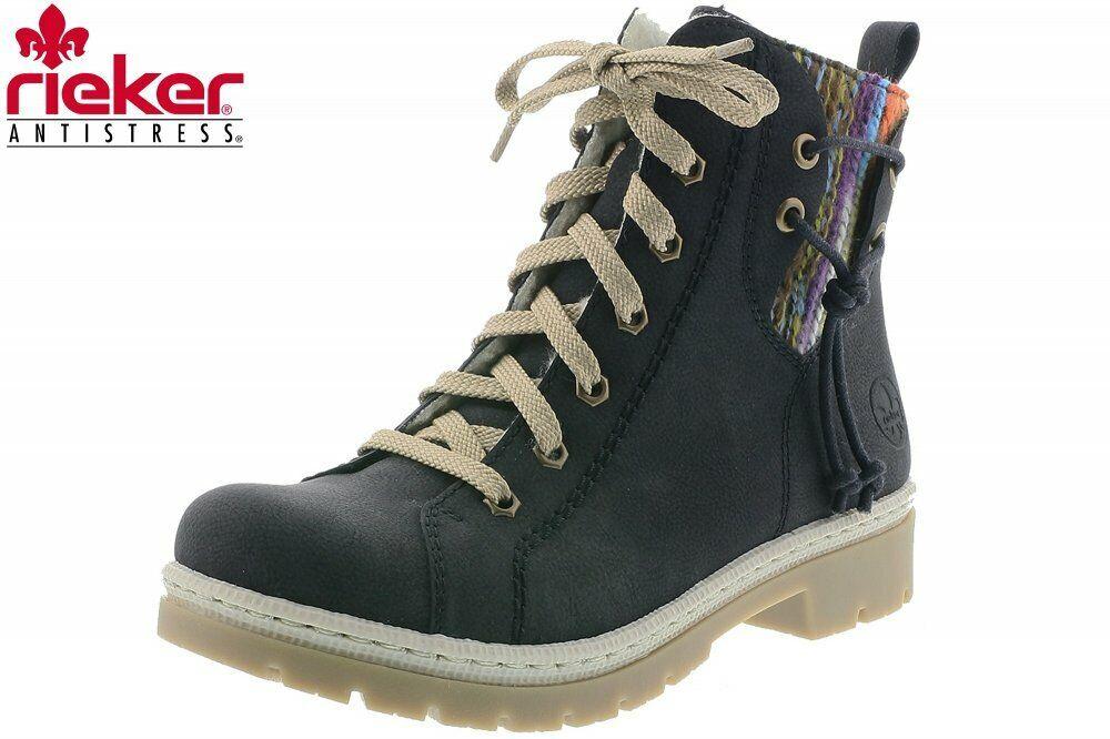 Rieker Damen SchnürStiefel Schwarz Schuhe Stiefel Y9438-00
