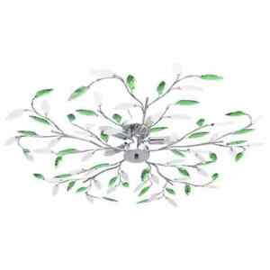 vidaXL Deckenleuchte mit Acrylglas-Blätter für 5 x E14-Lampen Grün Deckenlampe