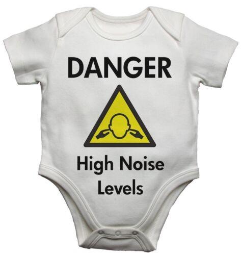 BABY Gilet BODYSUITS FUNNY Design pericolo alto livello di rumore per i ragazzi e ragazza