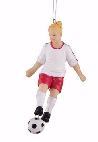 """GALLERIE II 4/"""" HAND PAINTED RESIN GIRL SOCCER PLAYER YOUTH TEAM XMAS ORNAMENT"""