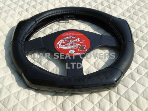 TO FIT A DODGE CHALLENGER CARBON FIBER LOOK R1 BLACK STEERING WHEEL COVER i