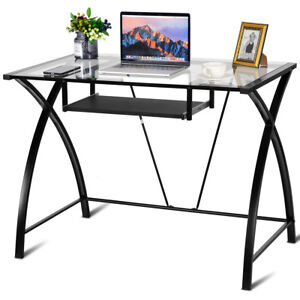 Clear Glass Top Computer Desk W Pull Out Keyboard Tray