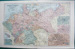 1901 LARGE VICTORIAN MAP GERMAN EMPIRE INSETS METZSTRASBOURG