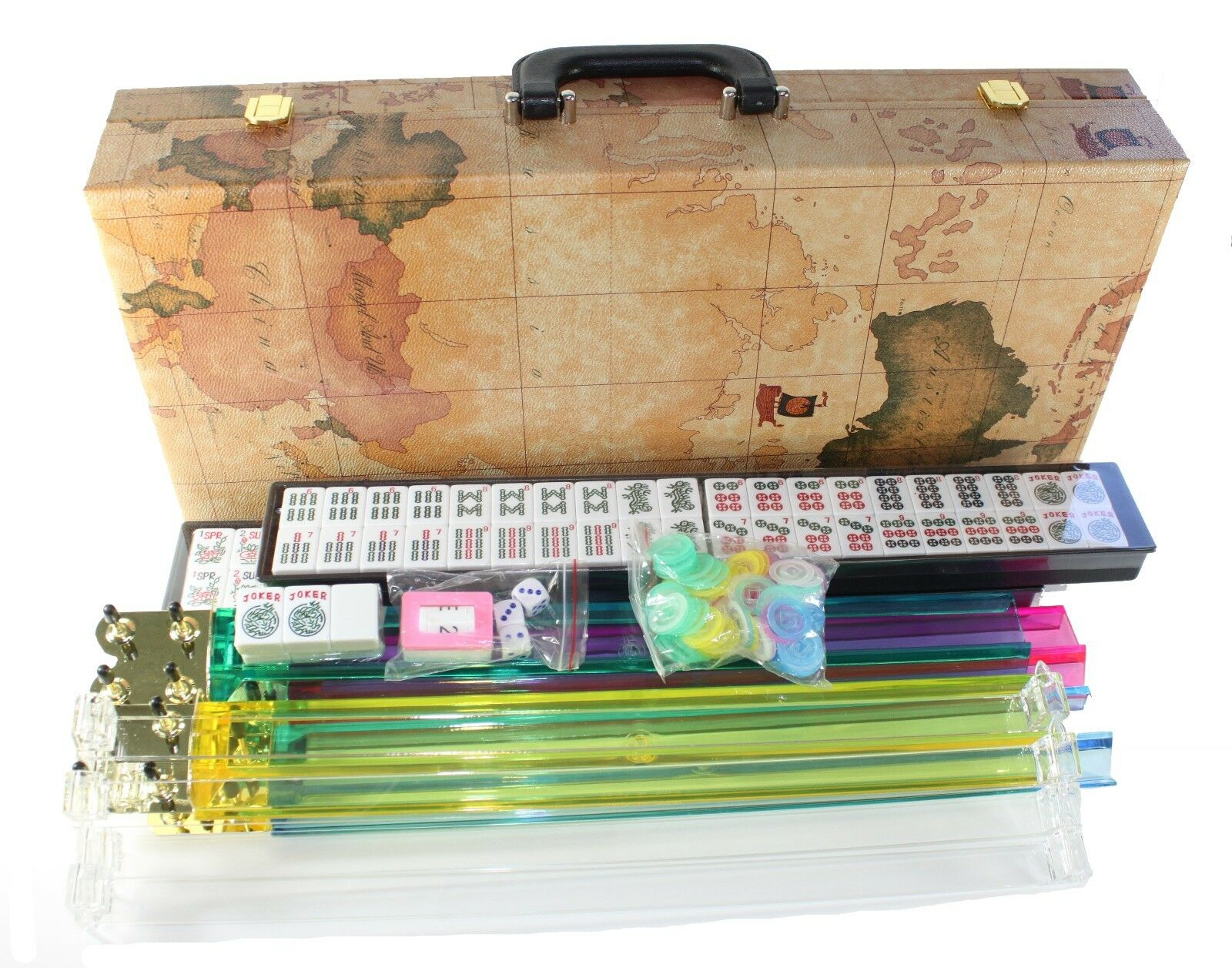 4 PUSHER + New 166 TILES American Mahjong WESTERN Mah jong Set WORLD MAP CASE
