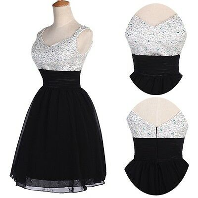 FREE SHIP SEQUINS MINI Formal Evening Party Wedding Bridesmaid Prom Dress Petite