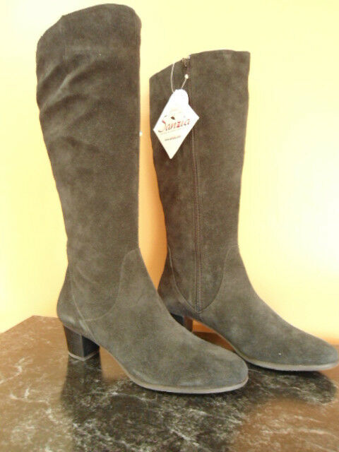 Women's Size 10.5M Black Suede Leather Sanzia Andrea Knee High Boots NEW 10.5