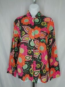 Vera Bradley Ziggy Zinnia Paisley Floral Pajama Top Size Medium