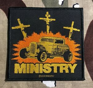 XLG Ministry Jesus Built My Hotrod Back Patch Industrial Band Sew on Applique