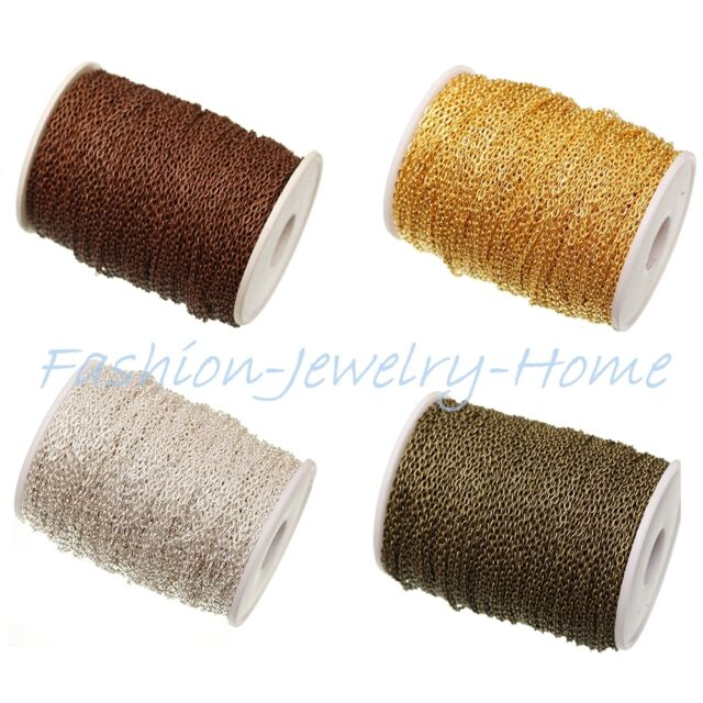 Wholesale 5m/100m Silver /Gold Plated Cable Open Link Metal Chain Findings