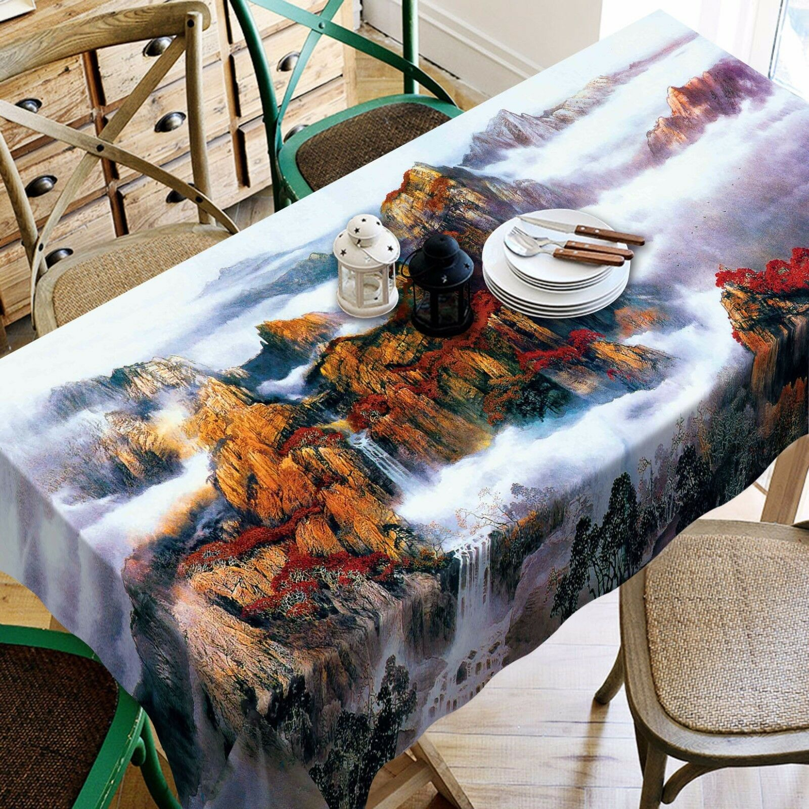 3D Mountain 81 Tablecloth Table Cover Cloth Birthday Party Event AJ WALLPAPER AU