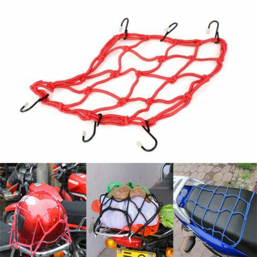 6 Hooks Hold Down Cargo Luggage Helmet Net Mesh for Motorcycle Motorbike PLV