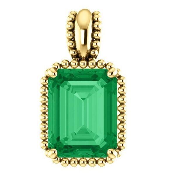 Atemberaubender Solider Gold 14k Solitaire Perlen Natur Kolumbianisch Smaragd Spezieller Sommer Sale