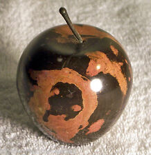 Brown Solid Marble Apple w/Stem - Great Paperweight!
