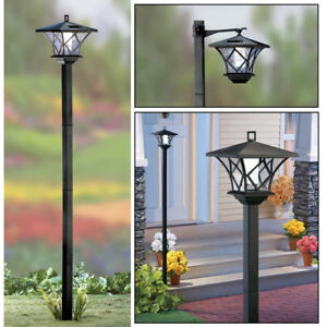 New Solar Street Led Lamp Post 2 Mounts 5 Tall Set