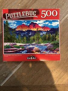 Grand Tetons Puzzlebug 500 Piece Jigsaw Puzzle ~ Tetons Alpenglow Wyoming