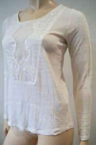 5c7f2b46c2f346 SANDRO White Fine Knit Linen Lace Centre Panel Long Sleeve Jumper ...