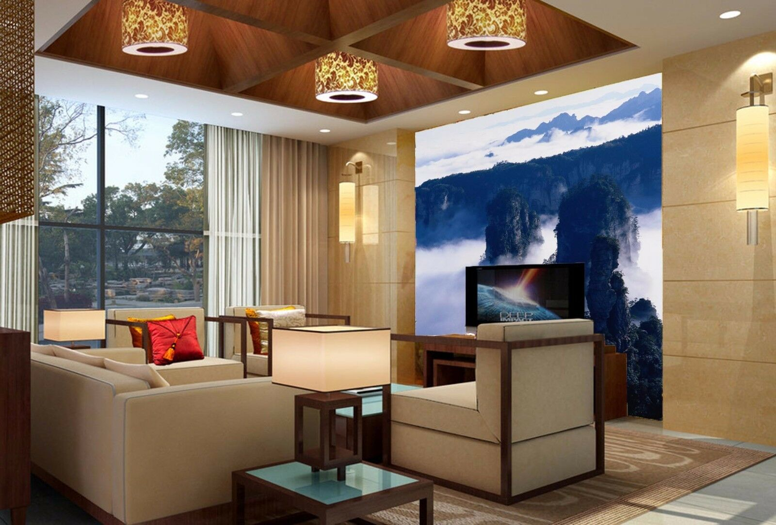 3D Clouds Mountain 77 Wall Paper Murals Wall Print Wall Wallpaper Mural AU Kyra