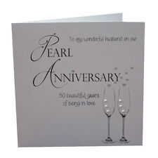 husband 30th pearl anniversary large handmade greetings card year