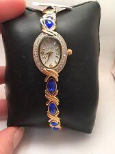 Women's Elgin Analog Dress Watch Gold Tone Blue Crystal Accents-EG9042 H52