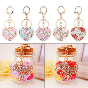 Love-Heart-Rose-Flower-Crystal-Keychain-Key-Ring-Charm-Purse-Bag-Pendant-Gift