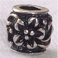 Nickel Free Black Flower Metal Spacer Bead For Silver European Charm Bracelets