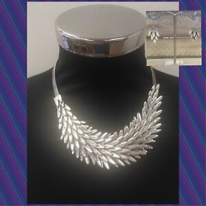 Silver-Lagenlook-Chunky-Feather-Necklace-And-Earring-Set-Metal-Fashion-Uk-Seller