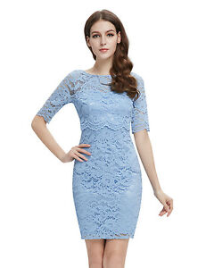 Women-Simple-Fashion-Half-Sleeve-Short-Lace-Casual-Party-Dress-Bodycon-05416