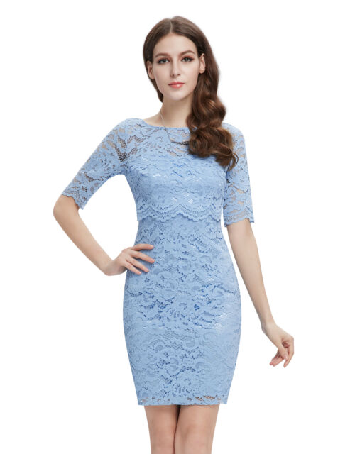 Women Simple Fashion Half Sleeve Short Lace Casual Party Dress Bodycon 05416