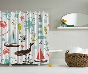 Image Is Loading Octopus Seahorse Crab Graphic Shower Curtain Sea Life