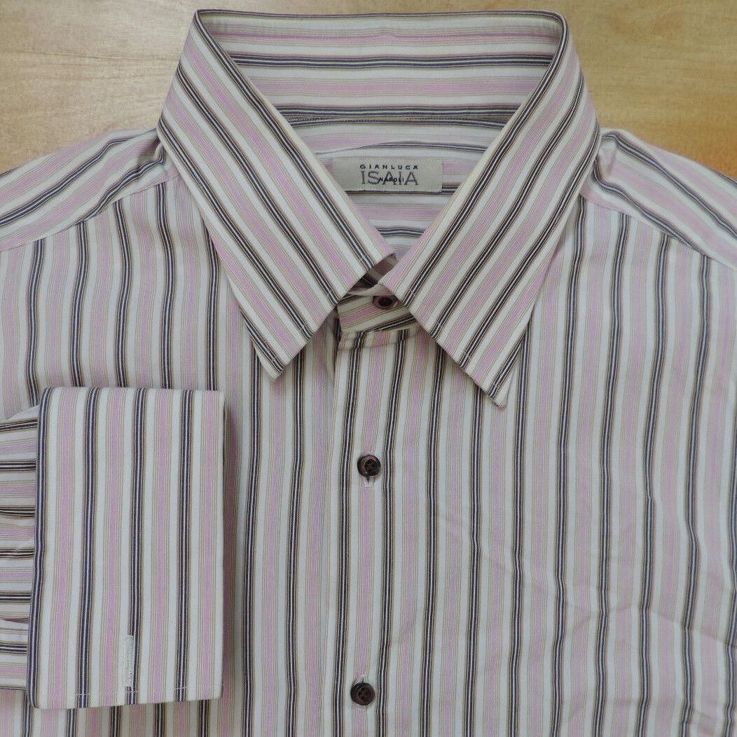 ISAIA NAPOLI Weiß w Rosa & Beige Stripe French Cuff Luxury Shirt 17  EUC
